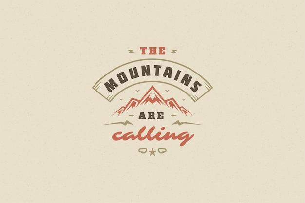 Citer la typographie avec le symbole de roche de montagne dessiné à la main pour carte de voeux ou affiche et autre