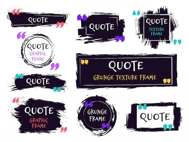 Citer la zone de texte du pinceau. étiquette texturée grunge, modèle de brosse de croquis, bulles de discours rugueux dessinés à la main. remarque jeu d'icônes de cadres d'étiquette. encadrement grungy d'encre noire pour message de motivation