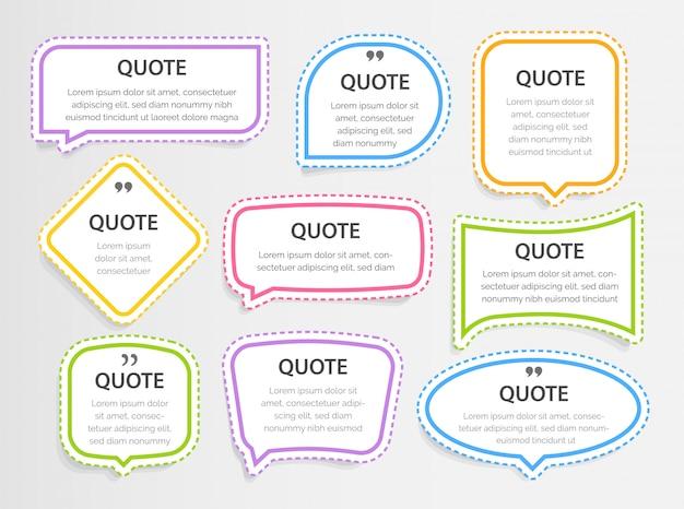 Citer des zones de texte de cadres 3d colorés modèle vierge avec des citations de conception d'informations d'impression, des autocollants, des illustrations