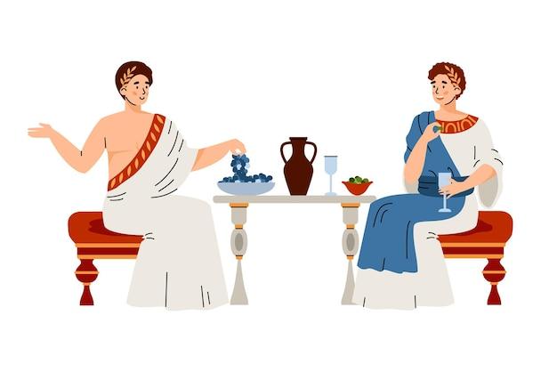 Les citoyens en vêtements traditionnels de la rome antique mangent des fruits, boivent du vin et parlent