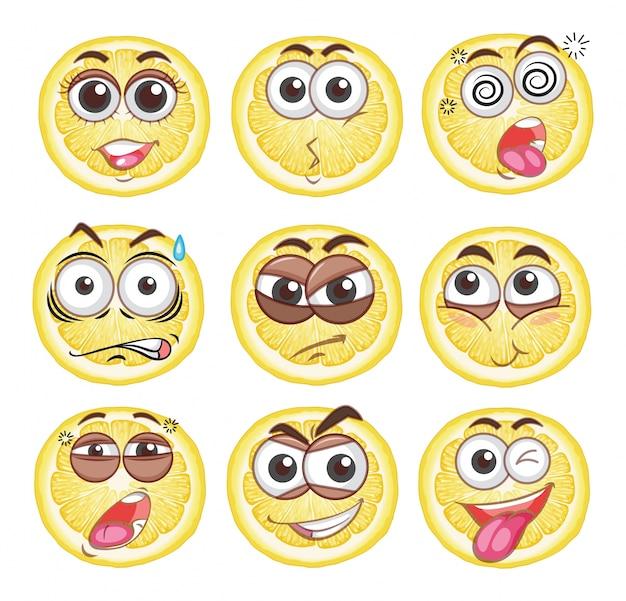 Citron coupé avec différentes émotions