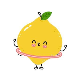 Citron drôle mignon faire de la gym avec cerceau