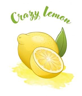 Citron jaune vif isoalté