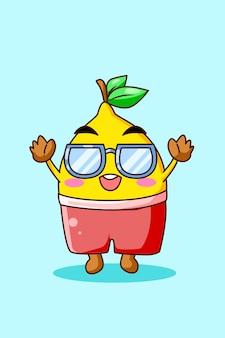 Citron mignon et heureux en illustration de dessin animé d'été