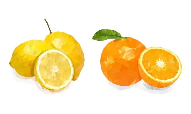 Citron et orange sur fond blanc. collection de fruits. illustration.