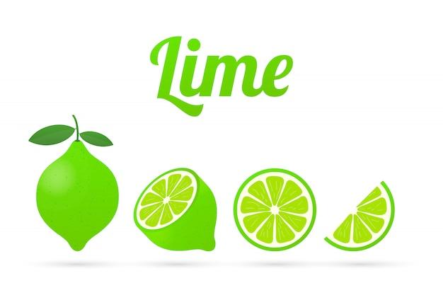Citron vert avec des feuilles vertes, tranche d'agrumes isolé. illustration.