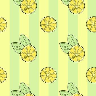 Citrons dessinés à la main sur un fond de dessin animé de fond transparent rayé