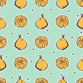 Citrons et mandarines colorés dessinés à la main modèle sans couture