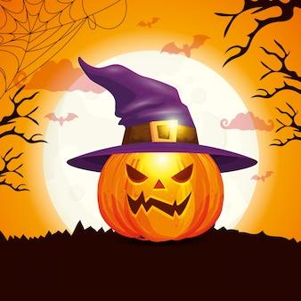 Citrouille avec chapeau sorcière en scène illustration halloween