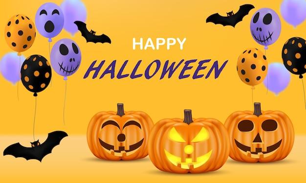 Citrouille avec chauve-souris et ballon pour la fête d'halloween