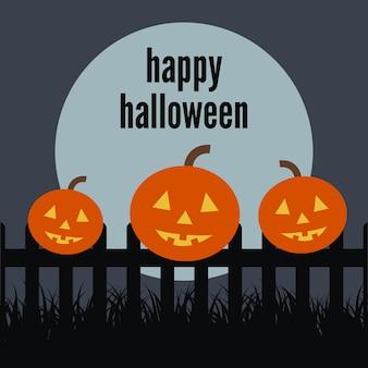 Citrouille sur la clôture à l'arrière-plan de la lune et l'inscription de happy halloween. illustration vectorielle