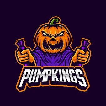 Citrouille en colère tenant la mascotte d'halloween de bonbons pour l'équipe ou le streaming