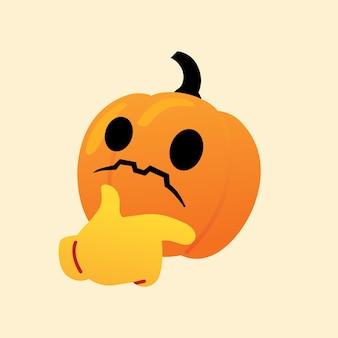Citrouille confus réagir emoji icône vecteur halloween
