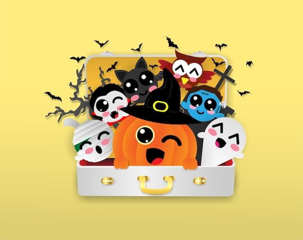 Citrouille, dracula, chauve-souris, maman, fantôme, hibou, zombie dans un sac de voyage, halloween
