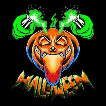 Citrouille effrayant halloween premium vector illustration tshirt design