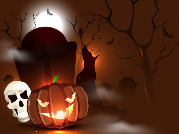 Une citrouille fantasmagorique avec un crâne, des chauves-souris en vol et un hurlement de loup dans la vue de cimetière brune de pleine lune pour la nuit d'halloween.