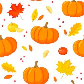 Citrouille et feuilles d'automne modèle sans couture. style de bande dessinée