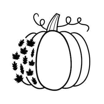 Citrouille avec des feuilles citrouille d'halloween happy halloween vector illustration