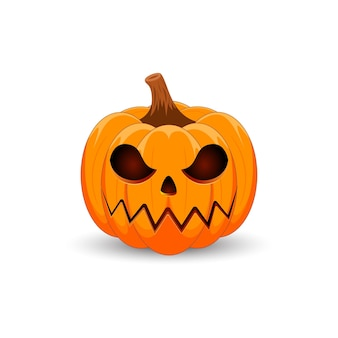 Citrouille sur fond blanc joyeuses fêtes d'halloween effrayant citrouille orange avec sourire