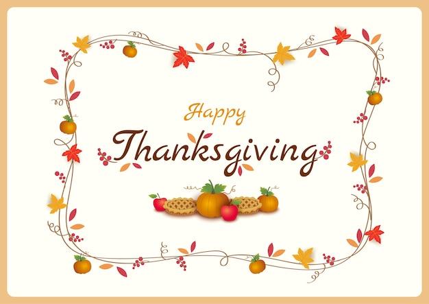 Citrouille de fond de thanksgiving et tarte décorée de branche de couronne
