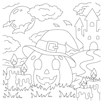 Citrouille gaie avec un chapeau page de livre de coloriage pour le thème d'halloween d'enfants