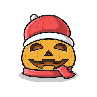 Citrouille d'halloween à l'aide d'un costume d'hiver de noël dans une jolie illustration d'art en ligne