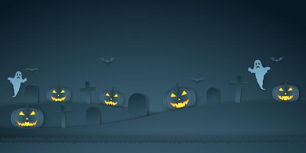 Citrouille d'halloween avec cimetière, chauve-souris et fantôme, style art papier