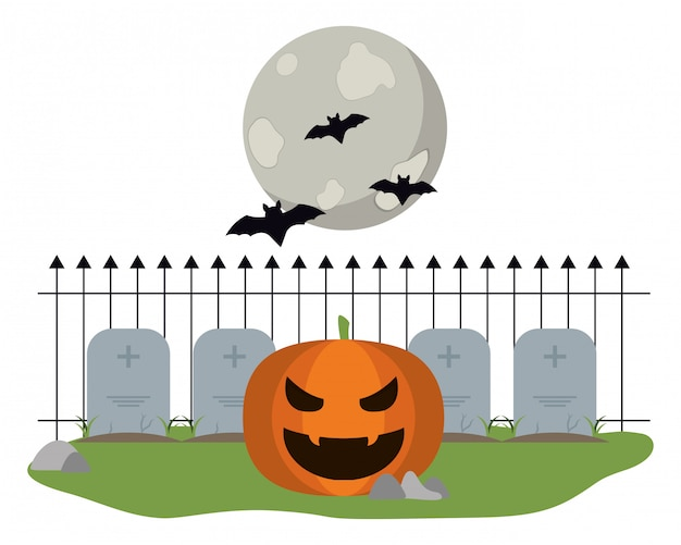 Citrouille d'halloween sur le cimetière