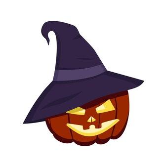 Citrouille d'halloween dans la lanterne de décoration d'octobre d'automne festif de chapeau pointu