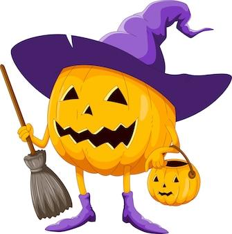 Citrouille d'halloween de dessin animé portant un chapeau de sorcière