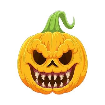 Citrouille d'halloween de dessin animé avec un visage effrayant
