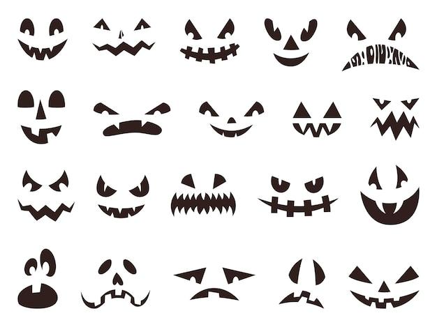 La citrouille d'halloween effrayante fait face à la silhouette, aux yeux fantômes maléfiques. bouches de citrouilles drôles ou effrayantes, ensemble de vecteurs d'icônes de visage de lanterne de vacances d'automne