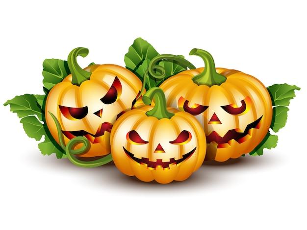Citrouille D'halloween Effrayante Jack O Lantern Avec Bougie à L'intérieur Vecteur Premium