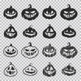 Citrouille d'halloween fait face ensemble de silhouette noire isolée