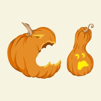 Citrouille d'halloween s'attaquant les uns les autres illustration vectorielle dessinés à la main isolé sur fond