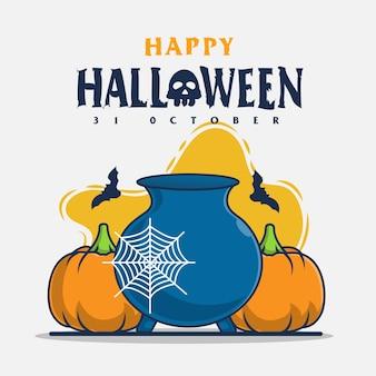 Citrouille et herbe avec illustration d'icône de salutations d'halloween