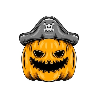 Citrouille jaune monstre utilisant le chapeau de pirates pour l'inspiration d'halloween