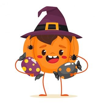 Citrouille joyeuse tenant des bonbons dans ses mains, caractère festif. joyeux halloween. doux ou méchant. illustration en style cartoon plat.