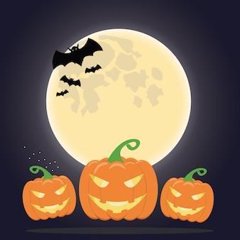 Citrouille et la lune avec des chauves-souris en halloween