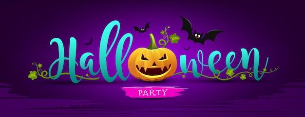 Citrouille de message de fête d'halloween heureux