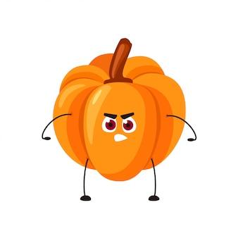 Citrouille orange emoji de vecteur avec un visage en colère