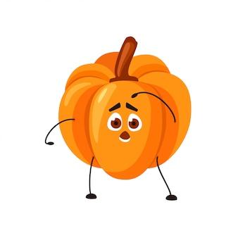 Citrouille orange emoji de vecteur avec un visage surpris