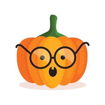 Citrouille orange avec des lunettes avec un visage effrayant pour halloween. décoration de fête. illustration vectorielle de dessin animé isolé sur fond blanc