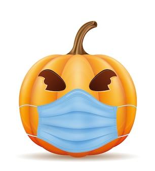Citrouille pour les vacances d'halloween dans un masque de virus vector illustration isolé sur fond blanc