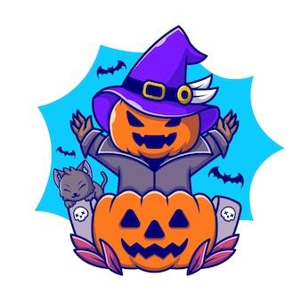 Citrouille de sorcière mignonne avec illustration d'icône de dessin animé de chat et chauve-souris. concept d'icône de vacances de personnes isolé. style de bande dessinée plat