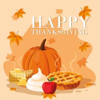 Citrouille avec tarte pour le jour de thanksgiving et jeu d'icônes