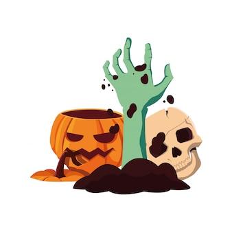 Citrouille zombie main joyeuse fête d'halloween