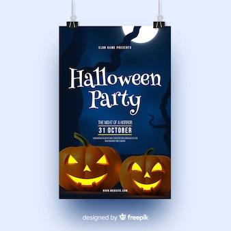 Citrouilles et affiche de la fête d'halloween à la pleine lune
