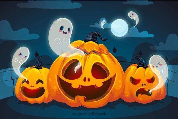 Citrouilles courbées et fantômes fond d'halloween