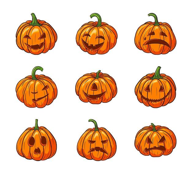 Citrouilles effrayantes d'halloween avec jeu de visages. collection d'illustrations de lanterne citrouille jack pour cartes de voeux de vacances d'automne, invitations, conception de colis, décoration. vecteur premium